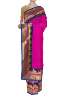 tussar-banarasi-check-pattern-sari-with-unstitched-blouse
