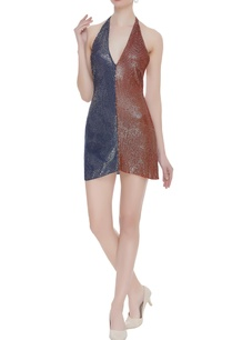 sequin-dual-color-halter-mini-dress