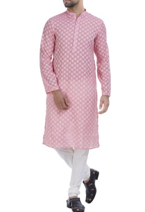 cotton-self-weave-kurta-with-churidar