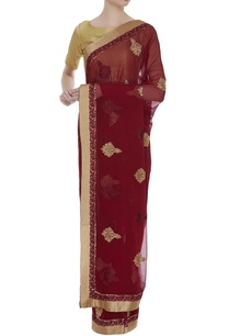 resham-embroidered-sari-with-blouse-piece