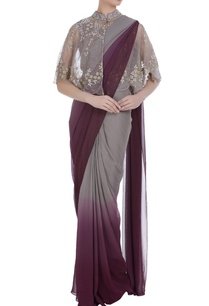 front-open-cape-with-ombre-pre-stitched-sari