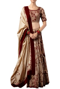 velvet-embroidered-tussar-silk-lehenga-set