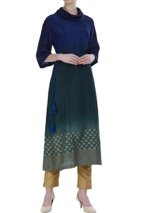 shaded-kurta-with-foil-print-and-dori-embroidery