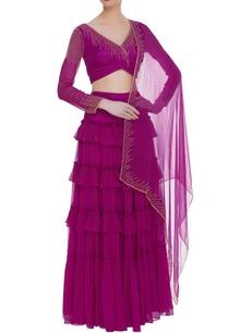 embellished-blouse-with-ruffle-lehenga-and-dupatta