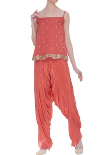 embroidered-top-with-draped-dhoti-pants