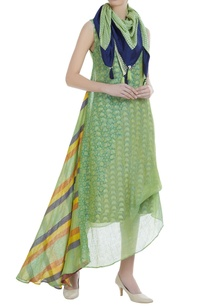 draped-asymmetric-dress-with-gota-embroidery-scarf