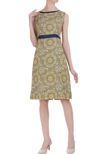 tussar-linen-block-printed-dress