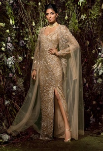 high-slit-sequin-gown-with-cape