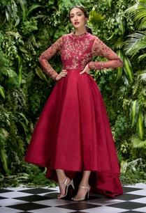 raw-silk-asymmetric-box-pleated-gown