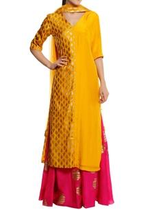 silk-kailash-foil-printed-kurta-with-palazzos-dupatta