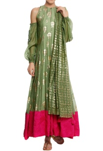 chanderi-silk-fish-foil-printed-anarkali-set