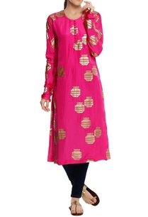 silk-tribal-vase-foil-printed-kurta