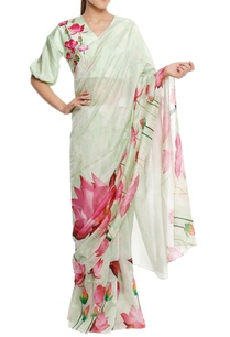 chanderi-lotus-floral-printed-sari-with-blouse-piece