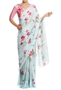 lotus-printed-sari-with-v-neck-blouse-piece