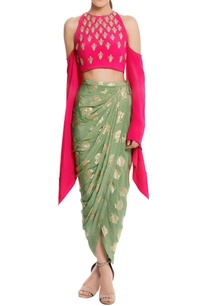 pure-crepe-embellished-blouse-with-heritage-fish-printed-dhoti-skirt
