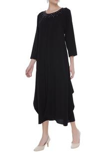 crepe-dress-with-stone-embellished-neckline