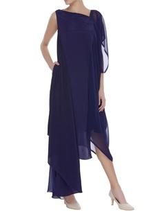 crepe-sleeveless-dress-with-cape