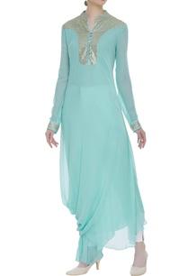 drape-style-kurta-with-sequin-embellishment