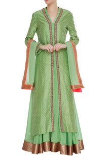 pure-chanderi-silk-long-jacket-with-skirt-dupatta