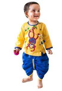 monkey-hand-embroidered-cotton-kurta-dhoti-set
