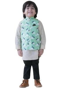 cloud-bird-printed-nehru-jacket-set