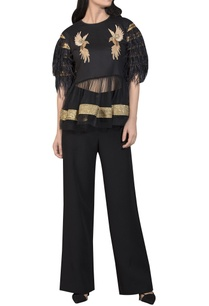 gold-patchwork-peplum-top
