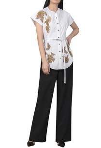 golden-patchwork-shirt-with-waist-tie-up