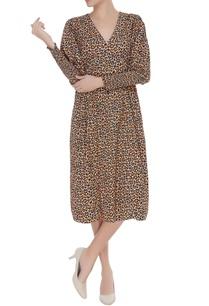 leopard-printed-smocked-dress