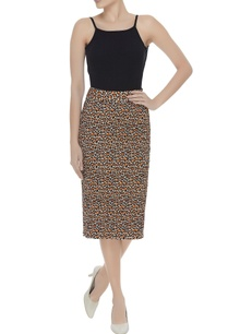 leopard-printed-smoked-effect-pencil-skirt