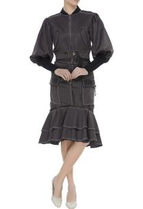 ruffle-trim-pencil-skirt