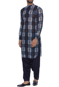 checks-floral-printed-chanderi-kurta