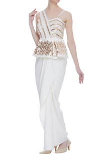 applique-work-gown-with-one-shoulder-sleeve