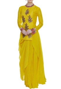asymmetric-kurta-draped-skirt