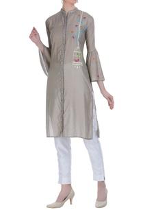 shirt-style-kurti-with-mirror-dori-work