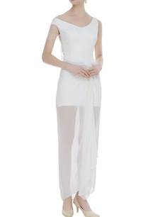 gathered-front-detail-long-dress