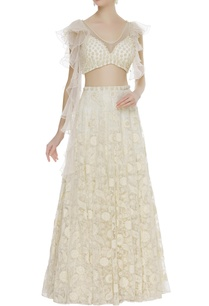 ruffle-sleeves-blouse-with-embroidered-lehenga