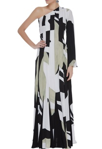 abstract-hand-painted-one-shoulder-gown