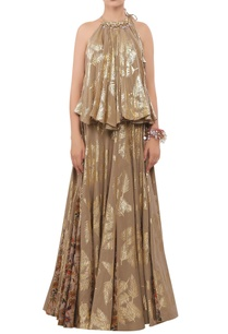 foil-printed-sequin-encrusted-halter-blouse-with-lehenga