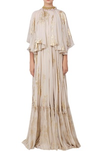 crepe-silk-ruffle-cape-style-dress