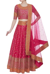 zari-embroidered-lehenga-set-with-net-dupatta
