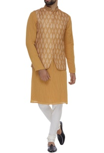 printed-satin-linen-jacket-kurta-set