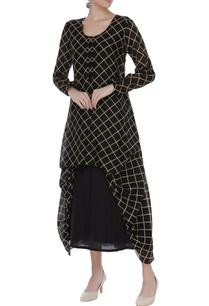 checkered-cotton-silk-layered-tunic