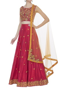 sequin-thread-embroidered-raw-silk-lehenga-set