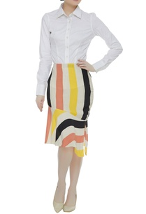 stripe-pattern-asymmetric-ruffle-border-skirt
