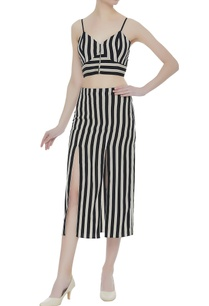 stripe-pattern-crepe-silk-bustier-with-midi-skirt