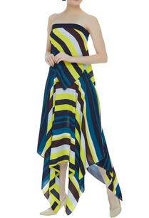 multicolored-asymmetric-skirt-with-tube-blouse