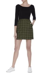 embroidered-checkered-mini-skirt