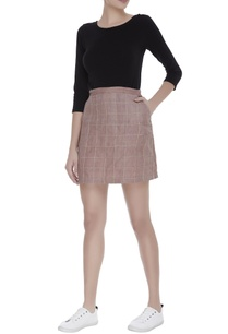 checkered-embroidered-mini-skirt