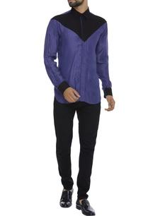 color-block-organic-silk-shirt