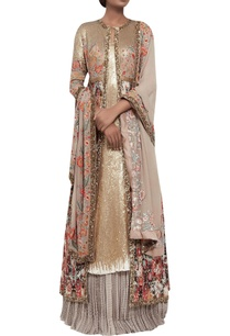 ikat-jacket-with-lehenga-sequin-kurta-set